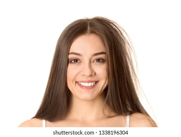 Happy woman before and after hair treatment on white background