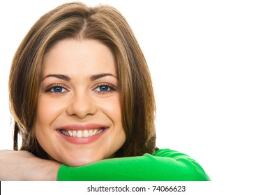 happy woman with  big smile, studio isolated portrait