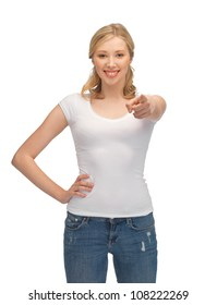 happy woman in blank white t-shirt pointing her finger
