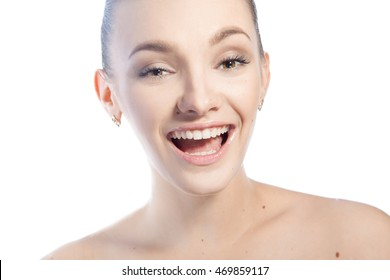 Happy woman with brown eyes smiling and looking at the camera isolated on white background