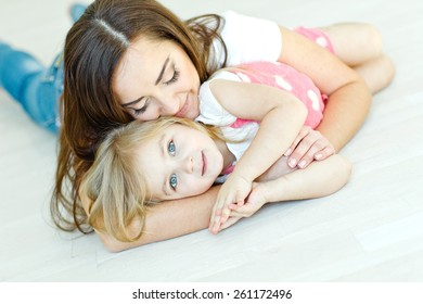 Happy woman and child