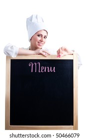 Happy woman cook show menu blackboard, isolated on white