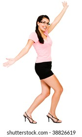 Happy woman dancing and posing isolated over white