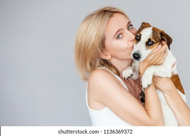 Happy woman with dog. Female and pet