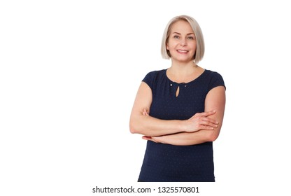 Happy woman emotionally posing in a studio. Middle aged woman on white background