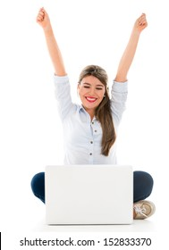 Happy woman enjoying her online success - isolated over white background