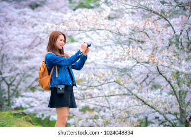 Happy woman enjoying taking photo with camers. Girl with blooming cherry blossoms sakura tree flowers.