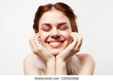 happy woman evening makeup light background