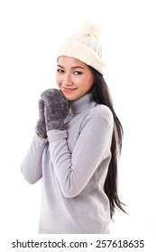 happy woman in fall or winter style