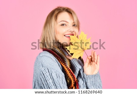 b70b9faf3f Happy woman in fashionable autumn clothes holds yellow leaves. Beauty and  fashion. Lifestyle and autumn concept. Warm sunny weather.