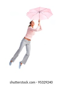 Happy Woman flying with umbrella.  Isolated on white background.