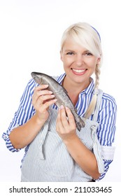 Happy woman with fresh fish