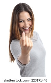 Happy woman gesturing beckoning isolated on a white background