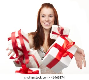 happy woman with gift boxes