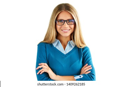 Happy woman with glasses, isolated on white background