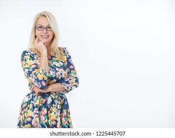 Happy woman with glasses portrait close up. Success. Isolated on white background.