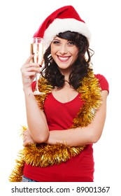 happy woman with gold tinsel holding glass of champagne