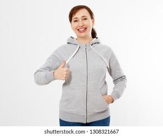 happy woman in gray sweatshirt, hoodies show like. White background - Gray pullover hoodie mockup