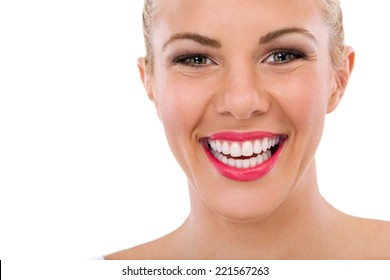 Happy woman with great smile, teeth whitening, dental care