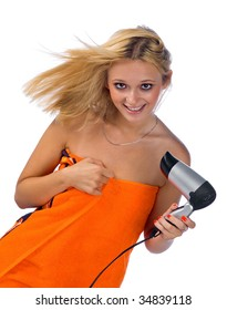 happy woman with hair blower