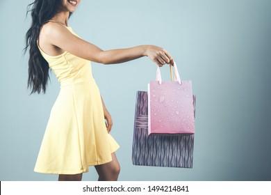 happy woman hand shopping bag