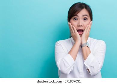 Happy woman has surprise