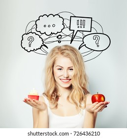Happy Woman with Healthy and Unhealthy Food, Diet and Overweight Concept. Healthy Eating, Lifestyle. Weight Loss