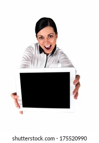 Happy woman holding the hands of the tablet - wide angle
