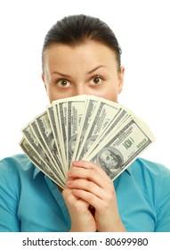 Happy woman holding money