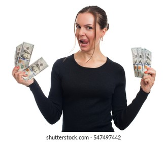 happy woman holds some money in her hands. Isolated