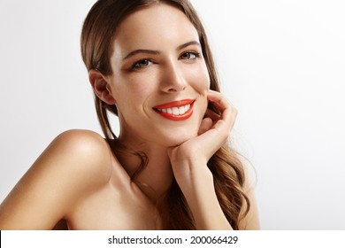 happy woman with ideal smile and perfect skin