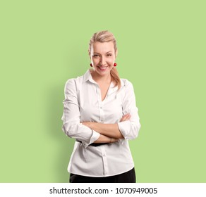 Happy woman, isolated on trendy gradient background