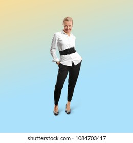 Happy woman, isolated on trendy gradient background. Full length