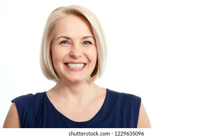 Happy woman isolated on white background