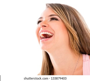 Happy woman laughing - isolated over a white background