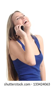 Happy woman laughing on the mobile phone isolated on a white background