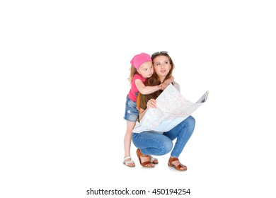 Happy woman and little girl  with map. daughter hugging mother.   Isolated on white background.