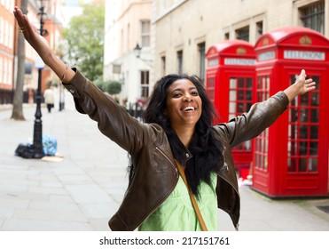 Happy woman in London