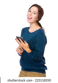 Happy woman look at mobile phone