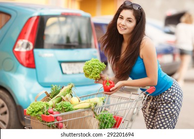 Happy woman in market, girl with vegetables at grocery shop, shopping young female with purchase, smiling woman with organic food at supermarket, instagam style filters, series
