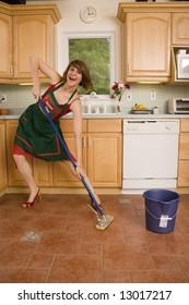 Happy Woman Mopping Floor