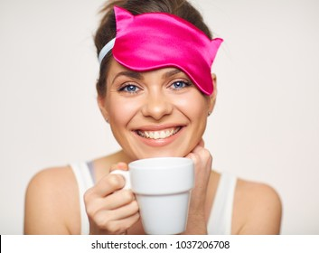Happy woman morning time concept with coffee cup. Isolated portrait on white.