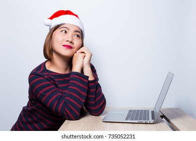 Happy woman at office in christmas day