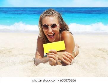 happy woman on the beach