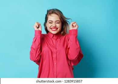 happy woman on blue background