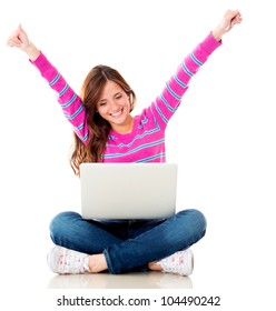 Happy woman online on a laptop computer - isolated over white background