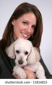Happy woman with pet dog