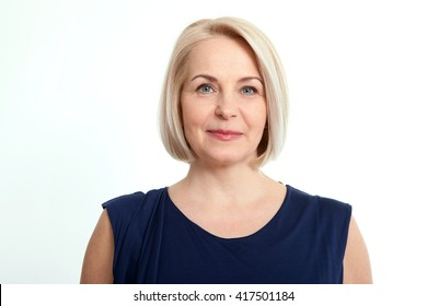 Happy woman portrait close up isolated over white background.