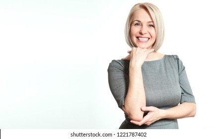Happy woman portrait close up. Success. Isolated on white.