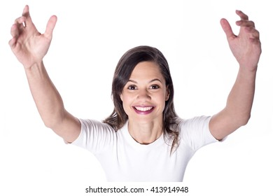 Happy woman with raised arms over white